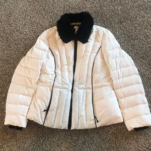 Ann Taylor Loft ivory/black puffy coat, size 6P.